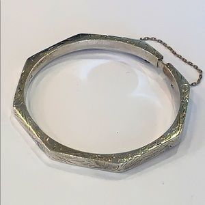 Sterling silver etched bangle safety chain